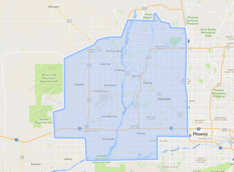 phoenix west valley map West Valley Phoenix Service Area Curl Cleaning Curl House Cleaning phoenix west valley map
